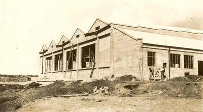 Photographs related to the career of Jimmy Hill with Fletcher Construction Co: 1935 Building under construction (unidentified) almost completed