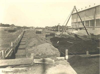 Wright, Stephenson & Co Ltd - Auckland Branch: 1925 Otahuhu Store - excavation for superphosphate bins