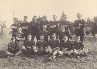 Wright Stephenson & Co Ltd - Gore Branch, Southland: 1909 District Rugby Team - Back row (l-r) J McDougall; R S Mitchell; W J H Wilson; G A Gardiner; J R Stevenson; R Nichol; Middle row S Pedlow; W D Shelton; M O'Neill; P C Gray (Line Umpire); Front row E Sherborne; G H Donaldson, P C Mills (Captain); G McLaren; G B Turnbull; A Whytock;