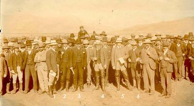 Wright Stephenson & Co Ltd - Invercargill Branch, Southland: 1905 Row of men standing (buyers?) at the Moa Flat Sale