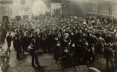Wright Stephenson & Co Ltd - Gore Branch, Southland: 1904 Waimea Estate land sale held in Gore Horse Bazaar, 1904; Standing on the rostrum (l-r) P C Gray; W D Hunt; John T Martin; The sale was the largest held in Southland up to that time.