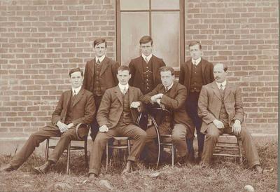 Wright Stephenson & Co Ltd - Gore Branch, Southland: 1911 Edendale sub-agency - staff (back row) T Robertson; T J Scoular; T McKenzie; Front row - I McRae; J W Macdonald; J Bogue; G Dempster;