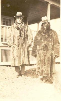 Wright Stephenson & Co Ltd - Gore Branch, Southland: 1911 Mr Weir and Mr Mills dressed in fur coats