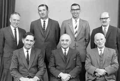 Wright Stephenson & Co Ltd - Invercargill Branch, Southland: 1963 Executive staff - Back row F Jones (Motor Manager); I E Wilson (Stock Department); J S Lennie (Produce Department); L G Pryde (Accountant); Front row M G Shepperd (Stock Manager); H D Irving (Manager); J M Wilson (Assistant Manager);