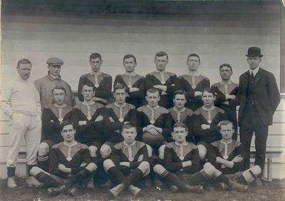 Wright Stephenson & Co Ltd - Invercargill Branch, Southland: 1910 Stock & Station Agents Football Team (Rugby) - Invercargill vs Dunedin; Back row H H White (Referee); F Carswell; C Sutherland; P Steel; J F Miller; P Reynolds; P J Israel (Manager); Middle row S Cupples; S Robertson; H Woods; A Smith (Captain); A Mitchell; A Carmichael; Front row B Timpany; W A Brown; A McGrath; J C Dunnet;