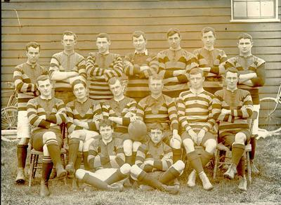Wright Stephenson & Co Ltd - Invercargill Branch, Southland: 1909 Football Team (Rugby) -  Back row V J Christophers; H A Price; H Carswell; S C Sutherland; J Fraser; I Macrae; F Grenville; Middle row A C Macdonlad; R J Timpany; J G Dunnet; J Ussher (Captain); A M Macdonald; G L Robertson; Front row W Brandford; R Harris;