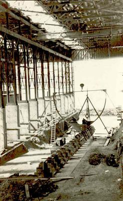 Fletcher Holdings Ltd - Stevenson & Cook Engineering Ltd: 1942 Minesweeper during building at yards, Port Chalmers