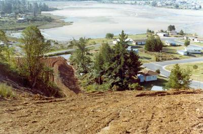 Tairua Heights subdivision, Coromanel Peninsula: 1977 development stage II - view from hill top of subdivision looking out over Pepe Lagoon; 1977; Photograph