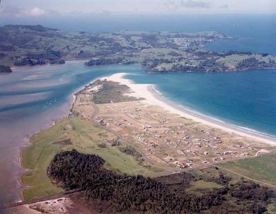 Omaha Beach development, North Auckland: 1974 (aerial view); Circa 1974; Photograph