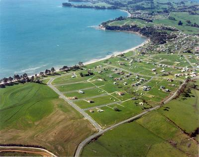 Snell's Beach development, North Auckland: 1974 aerial view; Circa 1974; Photograph