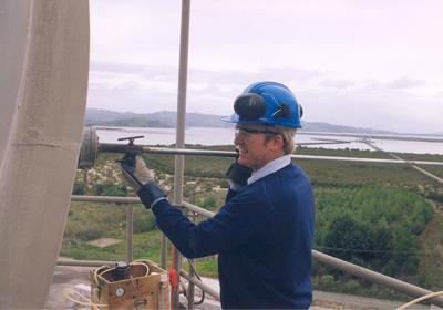 Golden Bay Cement Co: 1970 Staff member working on silo?
