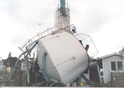 Tasman Pulp & Paper Co Ltd: 2Mar1987 Bay of Plenty/Edgecumbe Earthquake damage - Firth Certified Concrete metal hopper crashed into plant control room