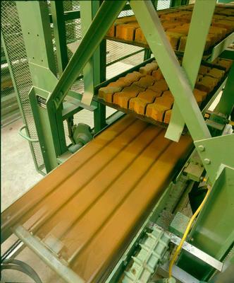 Firth Concrete Ltd, Christchurch: 1988 Concrete paving blocks on the production line at the Block plant